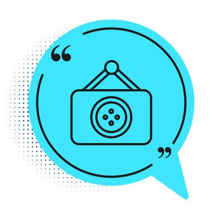 Black line Tailor shop icon isolated on white background. Blue speech bubble symbol. Vector Illustration Illustration