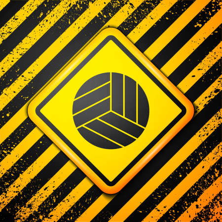 Black Volleyball ball icon isolated on yellow background. Sport equipment. Warning sign. Vector Illustration