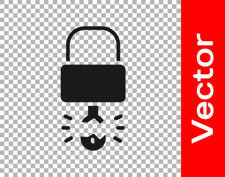 Black Key broke inside of padlock icon isolated on transparent background. Padlock sign. Security, safety, protection, privacy concept. Vector Illustration