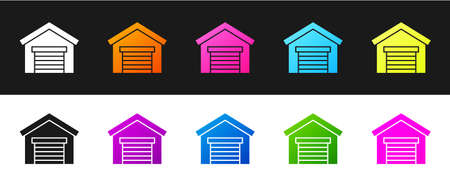 Set Garage icon isolated on black and white background. Vector Illustration Vecteurs