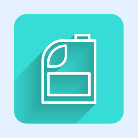 White line Canister for motor machine oil icon isolated with long shadow. Oil gallon. Oil change service and repair. Engine oil sign. Green square button. Vector Illustration