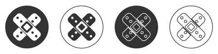 Black Crossed bandage plaster icon isolated on white background. Medical plaster, adhesive bandage, flexible fabric bandage. Circle button. Vector Illustration.