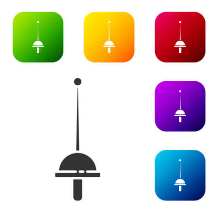 Black Fencing icon isolated on white background. Sport equipment. Set icons in color square buttons. Vector Illustration.