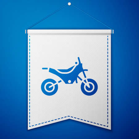 Blue Mountain bike icon isolated on blue background. White pennant template. Vector Illustration.