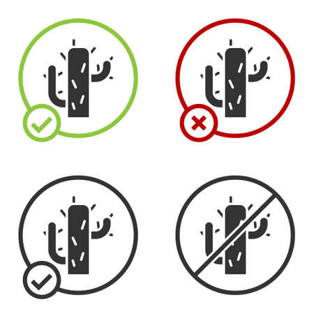 Black Cactus icon isolated on white background. Circle button. Vector Illustration.
