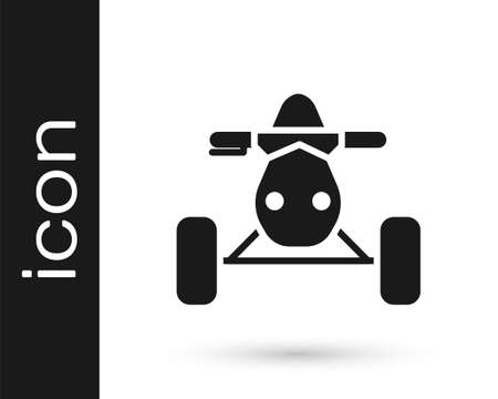 Grey All Terrain Vehicle or ATV motorcycle icon isolated on white background. Quad bike. Extreme sport.  Vector Illustration.