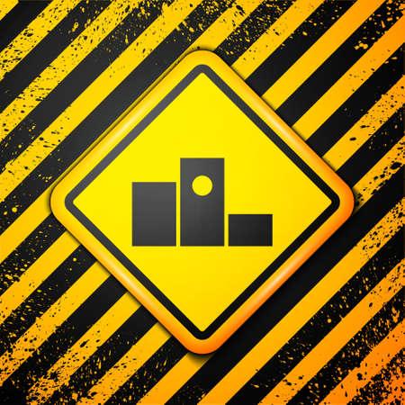 Black Award over sports winner podium icon isolated on yellow background. Warning sign. Vector Illustration.