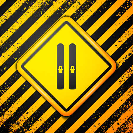 Black Ski and sticks icon isolated on yellow background. Extreme sport. Skiing equipment. Winter sports icon. Warning sign. Vector Illustration