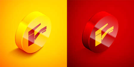 Isometric Water tap icon isolated on orange and red background. Circle button. Vector Illustration.