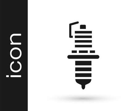 Grey Car spark plug icon isolated on white background. Car electric candle. Vector Illustration
