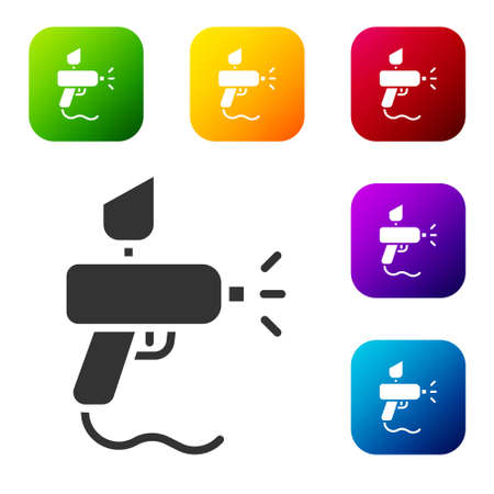 Black Paint spray gun icon isolated on white background. Set icons in color square buttons. Vector Illustration