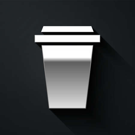 Silver Coffee cup to go icon isolated on black background. Long shadow style. Vector Illustration.