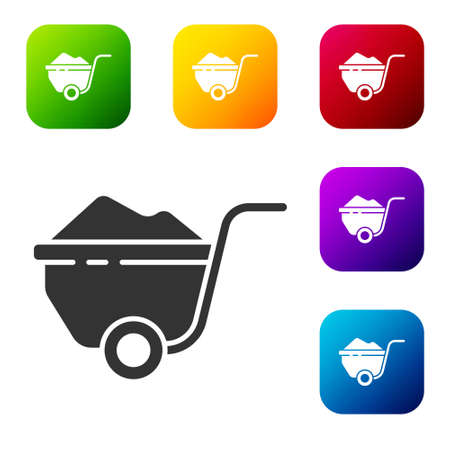 Black Wheelbarrow with dirt icon isolated on white background. Tool equipment. Agriculture cart wheel farm. Set icons in color square buttons. Vector Illustration