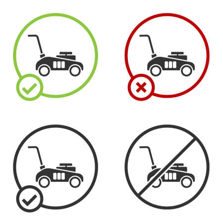 Black Lawn mower icon isolated on white background. Lawn mower cutting grass. Circle button. Vector Illustration