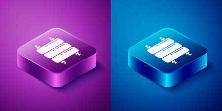 Isometric Heating radiator icon isolated on blue and purple background. Square button. Vector Illustration Vettoriali