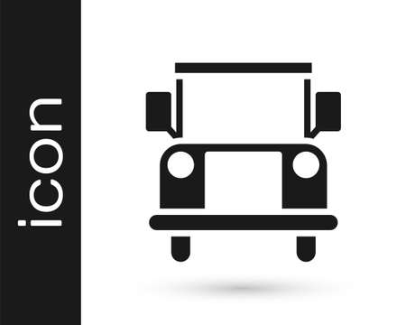 Grey School Bus icon isolated on white background. Public transportation symbol. Vector Illustration