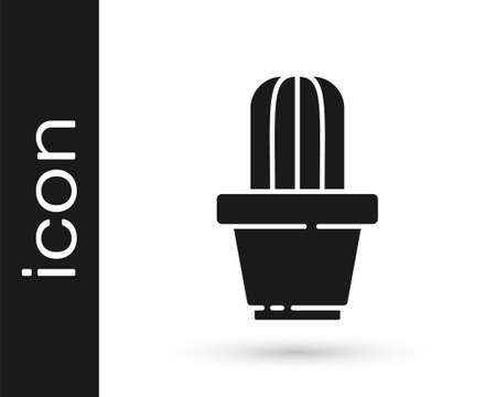 Grey Cactus and succulent in pot icon isolated on white background. Plant growing in a pot. Potted plant sign. Vector Illustration