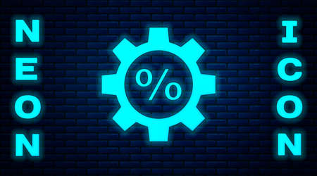 Glowing neon Gear with percent icon isolated on brick wall background. Vector Illustration Vettoriali