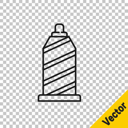 Black line Sewing thread on spool icon isolated on transparent background. Yarn spool. Thread bobbin. Vector Illustration