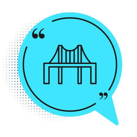 Black line Golden gate bridge icon isolated on white background. San Francisco California United States of America. Blue speech bubble symbol. Vector Illustration