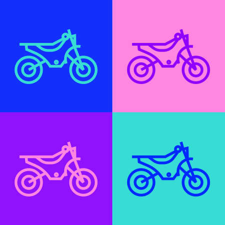 Pop art line Mountain bike icon isolated on color background. Vector Illustration.