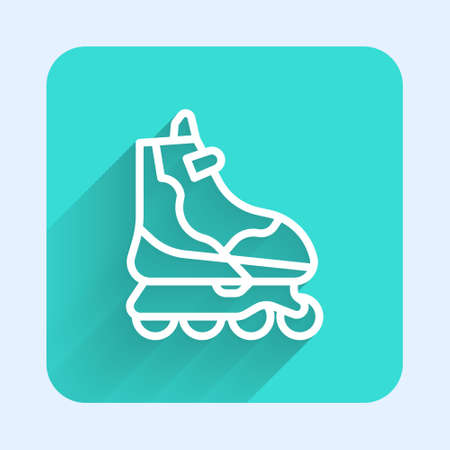 White line Roller skate icon isolated with long shadow. Green square button. Vector Illustration