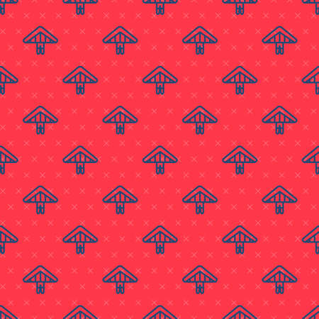 Blue line Hang glider icon isolated seamless pattern on red background. Extreme sport. Vector Illustration