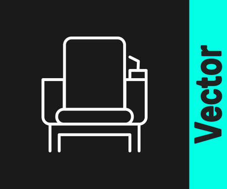 White line Cinema chair icon isolated on black background. Vector Illustration