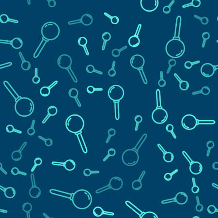 Green line Push pin icon isolated seamless pattern on blue background. Thumbtacks sign. Vector Illustration