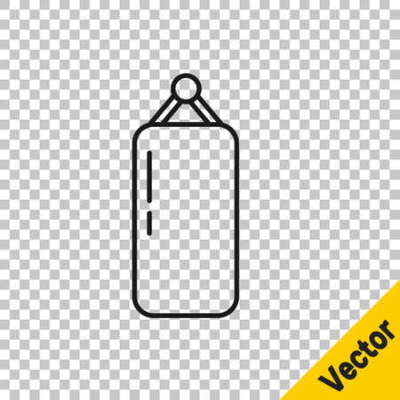 Black line Punching bag icon isolated on transparent background. Vector Illustration Vettoriali