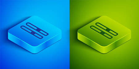 Isometric line Ski and sticks icon isolated on blue and green background. Extreme sport. Skiing equipment. Winter sports icon. Square button. Vector Illustration. Ilustrace