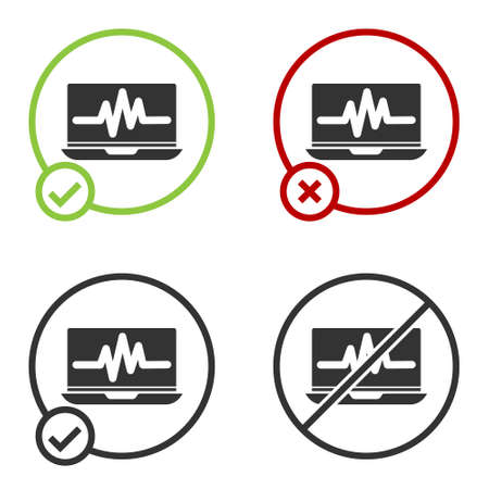 Black Laptop with cardiogram icon isolated on white background. Monitoring icon. ECG monitor with heart beat hand drawn. Circle button. Vector Illustration