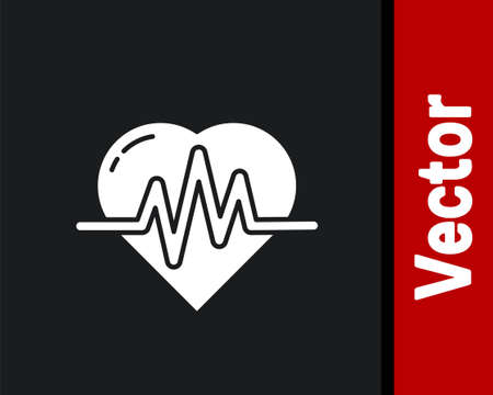 White Heart rate icon isolated on black background. Heartbeat sign. Heart pulse icon. Cardiogram icon. Vector Illustration Ilustracja