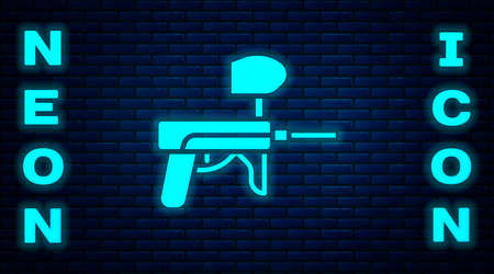 Glowing neon Paintball gun icon isolated on brick wall background. Vector Illustration