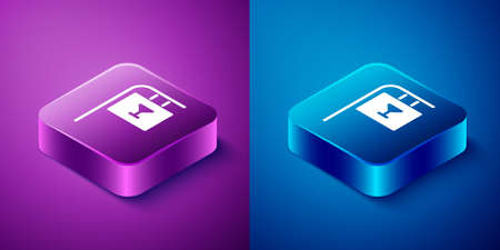 Isometric Street signboard with inscription Bar icon isolated on blue and purple background. Suitable for advertisements bar, cafe, restaurant. Square button. Vector Illustration