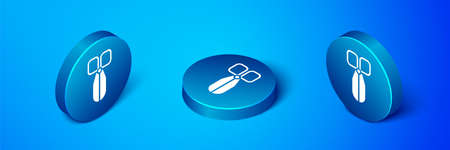 Isometric Scissors icon isolated on blue background. Cutting tool sign. Blue circle button. Vector Illustration.