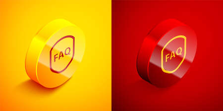 Isometric Shield with text FAQ information icon isolated on orange and red background. Guard sign. Security, safety, protection, privacy concept. Circle button. Vector Illustration