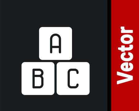 White ABC blocks icon isolated on black background. Alphabet cubes with letters A,B,C. Vector Illustration.