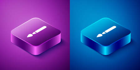 Isometric Paint brush icon isolated on blue and purple background. Square button. Vector Illustration. Illustration