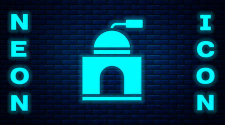 Glowing neon Manual coffee grinder icon isolated on brick wall background. Vector Illustration Illustration