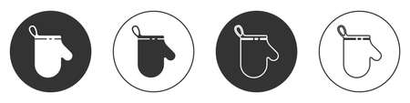 Black Oven glove icon isolated on white background. Kitchen potholder sign. Cooking glove. Circle button. Vector Illustration.