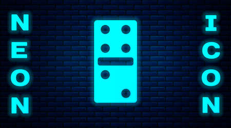 Glowing neon Domino icon isolated on brick wall background. Vector Illustration.