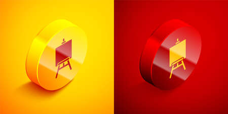 Isometric Wood easel or painting art boards icon isolated on orange and red background. Circle button. Vector Illustration.