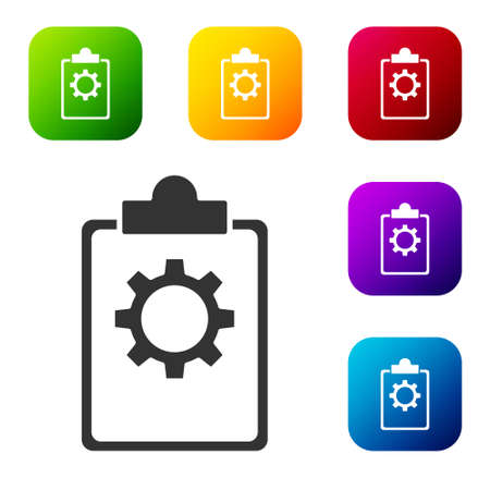Black Checklist clipboard with 24 hours service icon isolated on white background. Set icons in color square buttons. Vector Illustration Çizim