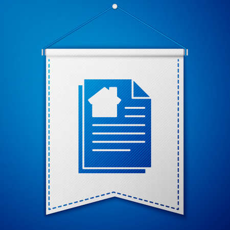 Blue House contract icon isolated on blue background. Contract creation service, document formation, application form composition. White pennant template. Vector Illustration.