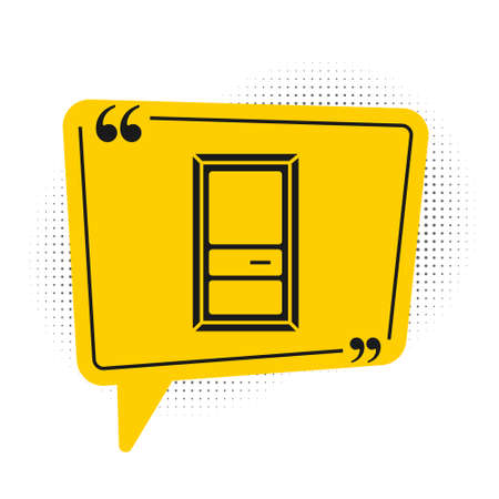 Black Closed door icon isolated on white background. Yellow speech bubble symbol. Vector Illustration