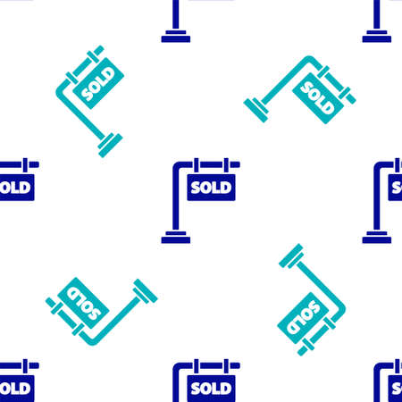 Blue Hanging sign with text Sold icon isolated seamless pattern on white background. Sold sticker. Sold signboard. Vector Illustration