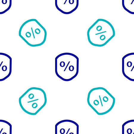Blue Loan percent icon isolated seamless pattern on white background. Protection shield sign. Credit percentage symbol. Vector Illustration.