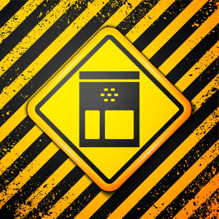 Black Bag of coffee beans icon isolated on yellow background. Warning sign. Vector Illustration.