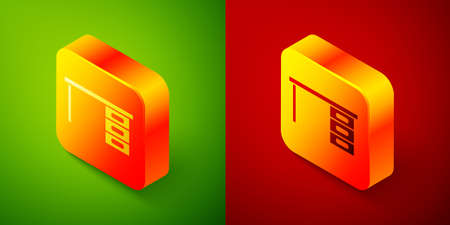 Isometric Office desk icon isolated on green and red background. Square button. Vector Illustration Illustration